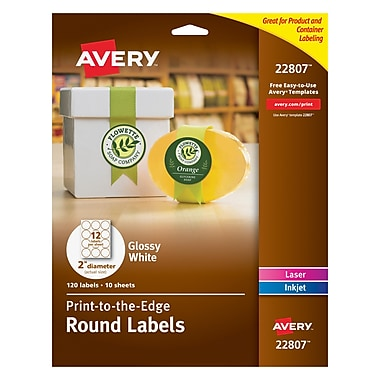 Avery Easy Peel Print-to-the-Edge Round Labels in White, Glossy, 2