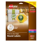"Avery Easy Peel Print-to-the-Edge Round Labels in White, Glossy, 2"" Diameter, 120/Box (22807)"