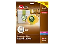 Avery Easy Peel Print-to-the-Edge Round Labels in White, Glossy, 2' Diameter, 120/Box (22807)