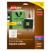 "Avery® White Laser/Inkjet Specialty Square Shaped Labels with TrueBlock, 2"" x 2"", 300/Box (22806)"