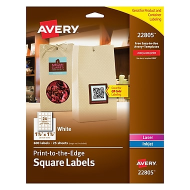 Avery® 22805 White Laser/Inkjet Specialty Square Shaped Labels with TrueBlock, 1-1/2