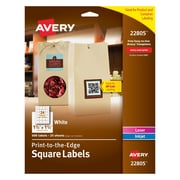 "Avery® 22805 White Laser/Inkjet Specialty Square Shaped Labels with TrueBlock, 1-1/2"" 1-1/2"" 600/Box"