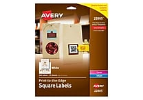 Avery® 22805 White Laser/Inkjet Specialty Square Shaped Labels with TrueBlock, 1-1/2' 1-1/2' 600/Box