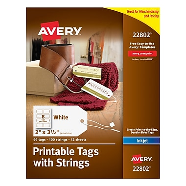 Avery® Printable White Tags with Strings for Inkjet Printers, 2