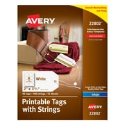 "Avery® Printable White Tags with Strings for Inkjet Printers, 2"" x 3-1/2"""