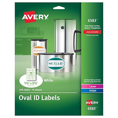 Avery 6583 multipurpose white oval labels permanent 1 1 for Avery template 6583