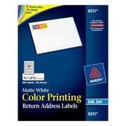 "Avery® 8257 Color Printing Matte White Inkjet Return Address Labels, 3/4"" x 2-1/4"", 600 labels per pack"