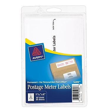 Avery® 5289 Postage Meter Labels for Pitney Bowes® Personal Post Office, 1 3/16