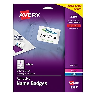 Avery Self-Adhesive Name Tag Labels, White, 2 1/3