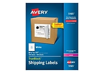Avery 8-1/2' x 11' Laser Full Sheet Shipping Labels with TrueBlock™, White, 100/Box (5165)