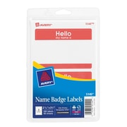 "Avery® Print-or-Write Name Tags, ""HELLO"" Red Border, 2 11/32"" x 3 3/8"""