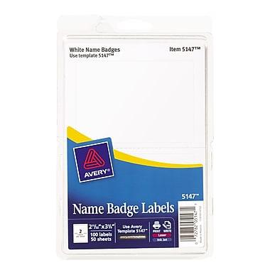 Avery 5147 Printable Self-Adhesive Name Tag Label, White Border, 2 11/32