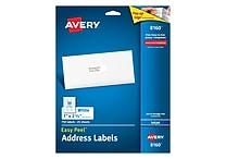 Avery 1' x 2-5/8' Inkjet Address Labels with Easy Peel, White, 750/Box (8160)
