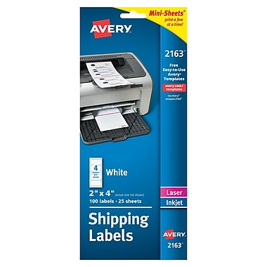 Avery® 2163 Mini-Sheets™ White Inkjet/Laser Shipping Labels, 2