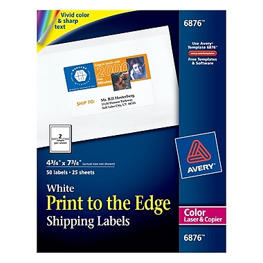Avery® 6876 Color Printing Matte White Laser Shipping Labels, 4-3/4