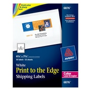 "Avery® 6876 Color Printing Matte White Laser Shipping Labels, 4-3/4"" x 7-3/4"", 50/Box"