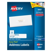 "Avery® 8461 White Inkjet Address  Labels with Easy Peel®, 1"" x 4"", 2,000/Box"