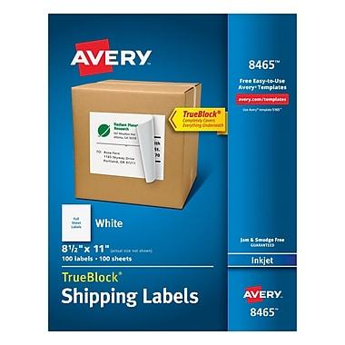 Avery® 8465 White Inkjet Full Sheet Shipping Labels with TrueBlock™, 8-1/2