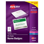 "Avery® 74540 Top-Loading Pin-Style Name Badges, 3"" x 4"", 100/Pack"