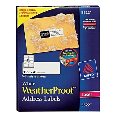 Avery® 5522 White WeatherProof™ Address Labels, 1-1/3