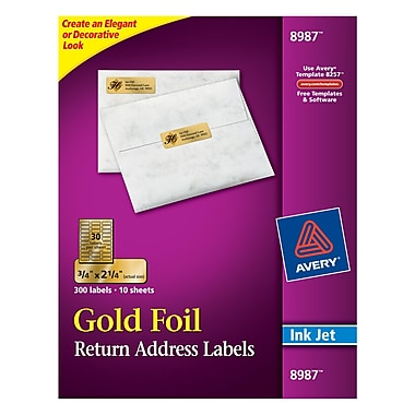 Avery® 8987 Gold Foil Inkjet Return Address Labels, 3/4