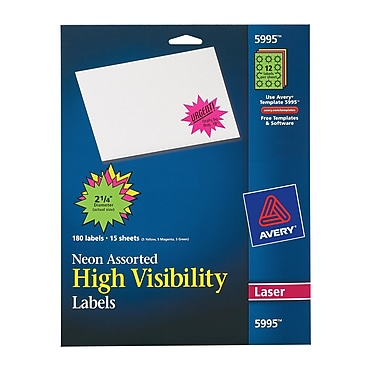 Avery® 5995 Neon Laser Burst ID Labels, 2-1/4