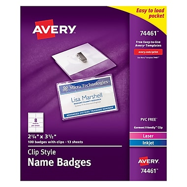 Avery® Top Loading Clip Style Name Tags, 2 1/4
