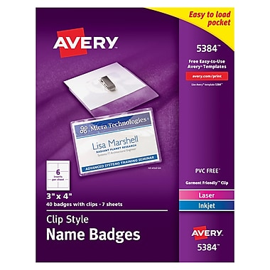 Avery® Top Loading Clip Style Name Tags, 3