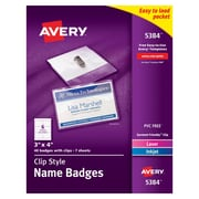"Avery® Top Loading Clip Style Name Tags, 3"" x 4"""