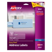 "Avery® 8662 Clear Inkjet Address Labels with Easy Peel®, 1-1/3"" X 4"", 350/Box"