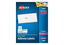 Avery Laser Address Labels with Easy Peel, 1' x 2-5/8', White, 7,500/Box (5960)