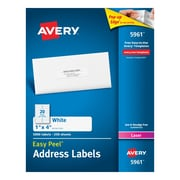 "Avery® 1"" x 4"" Laser White Address Labels with Easy Peel®, 5000/Box (5961)"