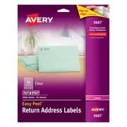 "Avery® 1/2"" X 1-3/4"" Laser Return Address Labels with Easy Peel®, Clear, 2000/Box (5667)"