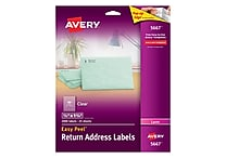 Avery® 1/2' X 1-3/4' Laser Return Address Labels with Easy Peel®, Clear, 2000/Box (5667)