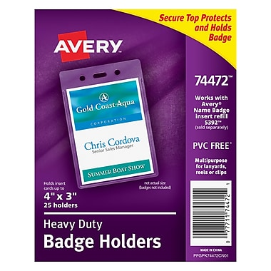 Avery® Vinyl Badge Holder, Vertical, 4