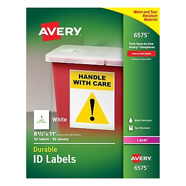 Avery® 6575 White Permanent Durable ID Laser Labels, 8-1/2