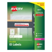 "Avery® 6577 White Permanent Durable ID Laser Labels, 5/8"" x 3"", 1,600/Pack"