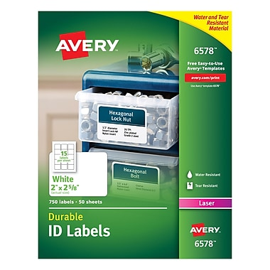 Averyr 6578 white permanent durable id laser labels 2quot x for 2x2 label template