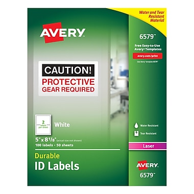 Avery® 6579 White Permanent Durable ID Laser Labels, 5