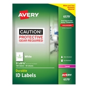 "Avery® 6579 White Permanent Durable ID Laser Labels, 5"" x 8-1/8"", 100/Pack"
