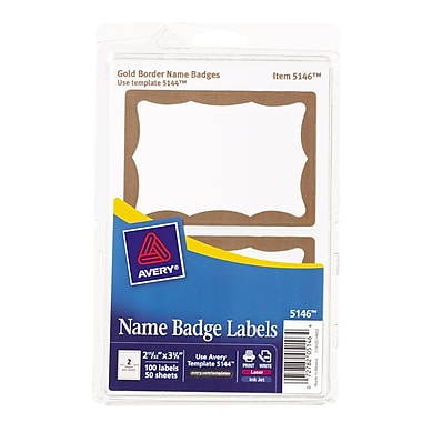 Avery 5146 Printable Self-Adhesive Name Tag Label, Gold Border, 2 11/32