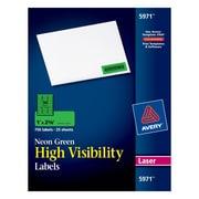 "Avery® 5971 Neon Laser Address  Labels, 1 X 2-5/8"", Neon Green, 750/Box"