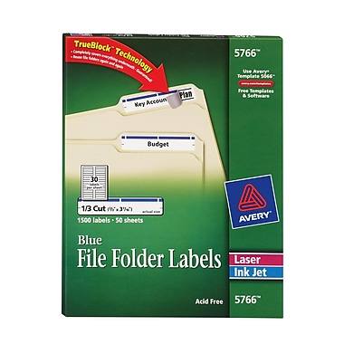 Avery® Blue Permanent File Folder Labels with TrueBlock, 1,500/Pack (5766)