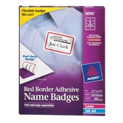 "Avery® Self-Adhesive Name Tag Labels, 2 1/3"" x 3 3/8"", White with Red Border, 400/Pack"
