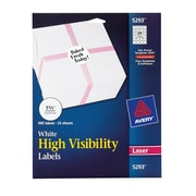 "Avery® White High-Visibility Labels for Laser Printers 5293, 1-2/3"" Diameter, Pack of 600"