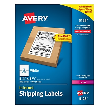 Avery Laser Internet Shipping Labels with TrueBlock™, 5-1/2