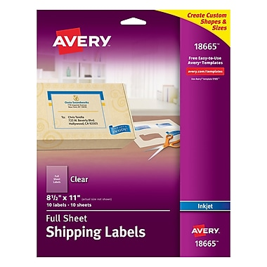 Avery® 18665 Clear Inkjet Full Sheet Shipping Labels, 8-1/2