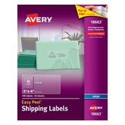 "Avery® 18663 Clear Inkjet Shipping Labels with Easy Peel®, 2"" X 4"", 100/Box"