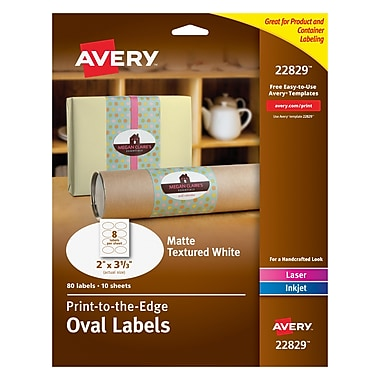 Avery® 22829 Print-to-the-Edge Textured White Oval Labels, Matte, 2