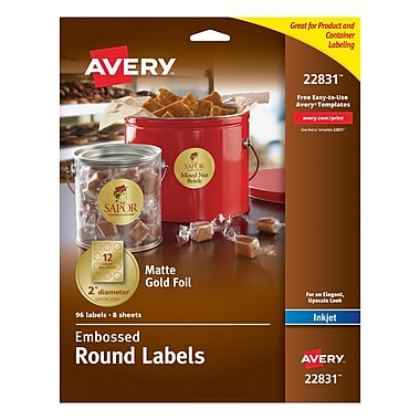 Avery® Embossed Round Labels 22831, Matte Gold Foil, 2